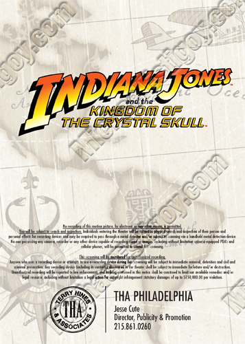 Back side of Indiana Jones 4 Philly Invite