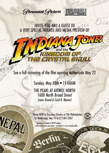Front side of Indiana Jones 4 Philly Invite