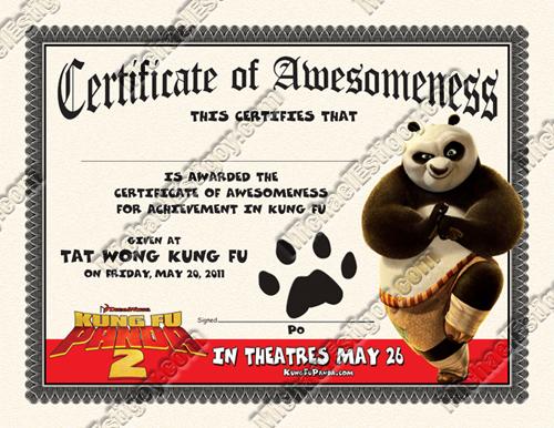 Kung Fu Panda 2 Certificate