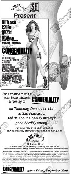 Miss Congeniality SF Weekly Half Page ad